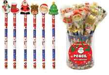 24 x Christmas Pencils & Erasers Party Bag Stocking Fillers School Xmas Gifts