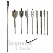 "New 9-Pc FLAT SPADE WOOD BIT TOOL SET 1/4"" 3/8""1/2""5/8""3/4""7/8""1""&1-1/4"""