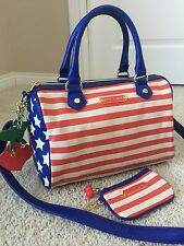 Betsey Johnson Patriotic Americana Purse W/ Matching Coin Pouch Keychain Wallet
