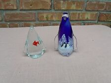 LOT OF 2 MURANO STYLE ART GLASS PENGUIN PAPERWEIGHT FIGURINE