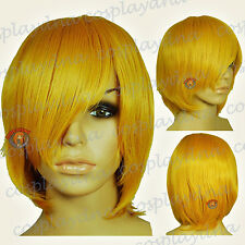 "16"" Hi_Temp Golden Blonde Long Layer Bob Cut  Short Cosplay DNA Wigs 65953"