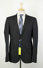 New. VERSACE JEANS Black Plaid Wool Blend 2 Button Suit Size 48/38 R $1295