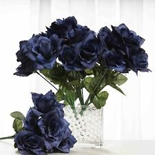 84 Navy Blue SILK OPEN ROSES Wedding Discounted Flowers Bouquets Centerpieces