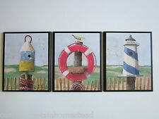 Lighthouse Birdhouse Sign Cute Wall Decor 3 Plaques Beach House Picture