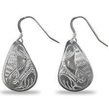 Wolf Silver Teardrop Earrings Native Northwest Coast Salish similar to Haida