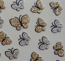 Nail Art 3D Sticker Glitter Gold and Silver Butterfly 61pcs per sheet