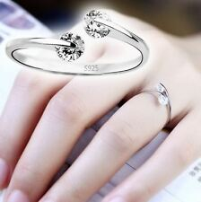 Women's: White Gold Plated Diamante Crystal Gem Adjustable Size Engagement Ring