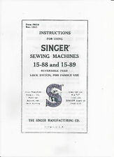 Singer Sewing Machine Manual (photocopy) Model 15-88 & 15-88 Also for Alfa 40