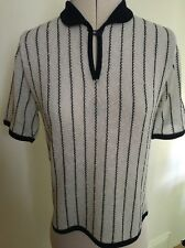 Vintage 1960s 1970s Striped Navy & Off White Nautical Knitted Top Mod Rockabilly