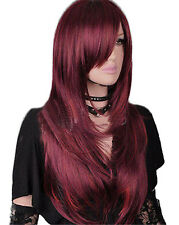 New Fashion Women Red Brown Straight Party Hair Long Heat Resistant Full Wig