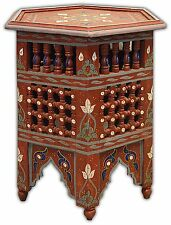 Hand painted Moroccan Mousharabiah Octagonal Coffee Table - In Red Marrakesh