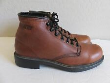 Walker Boots Brown Leather Lace Up Oil Resistant Soles Mens 9D