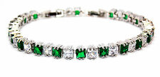 Silver Emerald And White Topaz 13.8ct Tennis Bracelet
