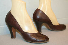 "7 BROWN LEATHER REPTILE VTG 40s WWII CUBAN 3 3/4"" HIGH HEEL ROUND TOE SWING Shoe"