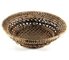 "5"" Thai Hand Craved Round Rattan Woven Basket Fruit / Vegetable Gift Storage"