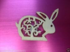 12 NATURAL WOODEN FILAGREE BUNNY RABBIT EASTER CARD MAKING CRAFT EMBELLISHMENTS