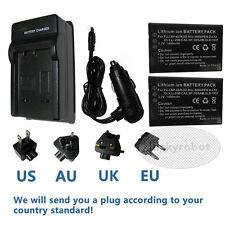 2X NP-60 Battery + Charger for Toshiba Camileo Pro H10 H20 P30 S10 HD Camcorder