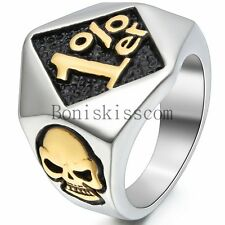 Men 1%er One Percenter Outlaw Biker Motorcycle Club Skull Stainless Steel Ring