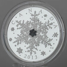 Canada 2013 Winter Snowflake 1 oz. Pure Silver $20 Proof Coin, Swarovski Crystal