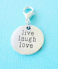 LIVE LAUGH LOVE Clip On Charm Tag Dangle with Lobster Clasp for Link Chain C19