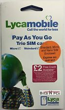 LYCAMOBILE PAY AS YOU GO SIM CARD - INCLUDES STANDARD, MICRO & NANO SIM