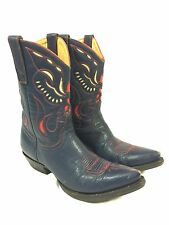 """The Old Gringo Western Boots Women's 8.5 B Blue With Red Light Grey Inlay 10"""""""