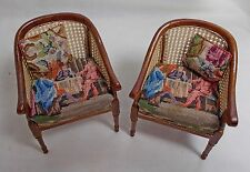 Dollhouse Miniature Antique Petit Point pair Tub Chairs (A)