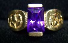 14K SOLID YELLOW GOLD CHILD'S PURPLE AMETHYST RING Size: 3