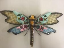 Pretty METAL DRAGONFLY WALL ART - Pink and Blue - Garden Home Dragon Fly Decor