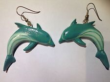 Blue Color Dolphin Animal Earrings Fashion Dangle Women Jewelry Long Large Wood