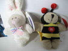 Two Starbucks rabbit and bee Bearista teddy bear Magnets.