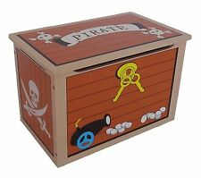 Bebe Style Children's Pirate Wooden Treasure Chest Toy Box NEW Storage Unit Kids