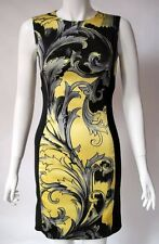 VERSACE COLLECTION UK8 US4 IT40 BLACK YELLOW BAROQUE FITTED SLEEVELESS DRESS