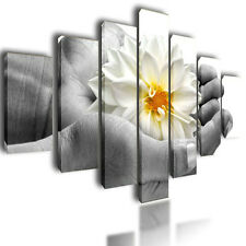 """HUGE EXTRA LARGE CANVAS PICTURES WALL ART FLOWER ON HANDS SPLIT MULTI PANEL 80"""""""