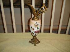 Antique Victorian Ewer Urn-Painted Flowers-Cherub Handle-Brass Metal-LQQK