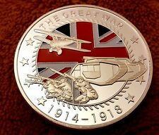 World War I Silver Coin First Great WWI Germany Allies Red White Blue Flag UK II