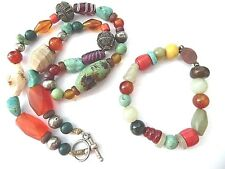 Antique Chinese bead necklace & bracelet, Turquoise Carnelian Jade coral silver