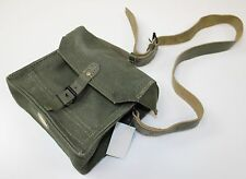 FRANCE FRENCH ARMY CANVAS & LEATHER AMMO SHOULDER BAG 21x19x10cm (TYPE 1)