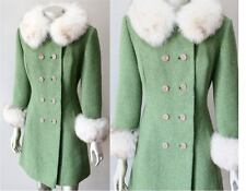 Arctic Fox Fur Vintage 60s Princess Collar Cuffs Wool Tweed Green White Coat XS