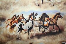 "WINDHAM HORSE FABRIC ""SIERRA TRAIL""  BEAUTIFUL WILD HORSES RUNNING"
