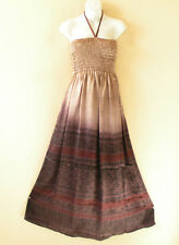 TL82 Silk Women Vintage Halter Tube Smock Maxi Broomstick Dress - XS to XL