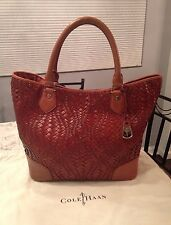 Cole Haan Genevieve Woven Leather Weave Saddle Tote Shoulder Hand Bag Purse EUC!