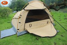 Deluxe Single Camping Swag Canvas Tent Aluminum Poles Hiking Bag Beige-JETCSSB