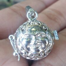 New-925 Sterling Silver Balinese Buddha Face Carve Harmony Ball pendant Locket