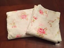 Vintage Cotton Full Size Bed Sheet Flat Fitted Pink English Roses Shabby Cottage