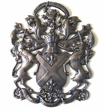Medieval Wall Decor Metal Art Unicorn Lion Fleur de Lis Coat of Arms Shield