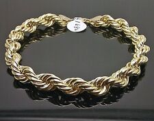 "10K Yellow Gold Rope Bracelet 8mm, 9"" Long"
