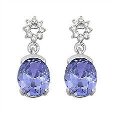 Oval Tanzanite & Cz Dangle  .925 Sterling Silver Earrings