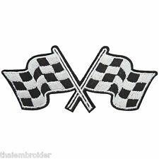 Checkered Flag Sport Racing Car Motorcycles Biker Champions Iron-On Patch #B023