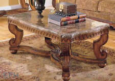 NEW TRAVEENE ELEGANT MARBLE TOP BURNISHED BROWN CHERRY FINISH WOOD COFFEE TABLE